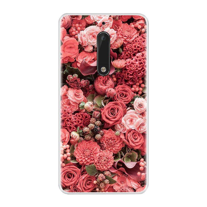 جراب هاتف لنوكيا 3 5 6 8 لينة سيليكون بولي يوريثان رقيقة جدا زهرة الأزهار رسمت عودة غطاء لعلامة نوكيا 3 5 6 8