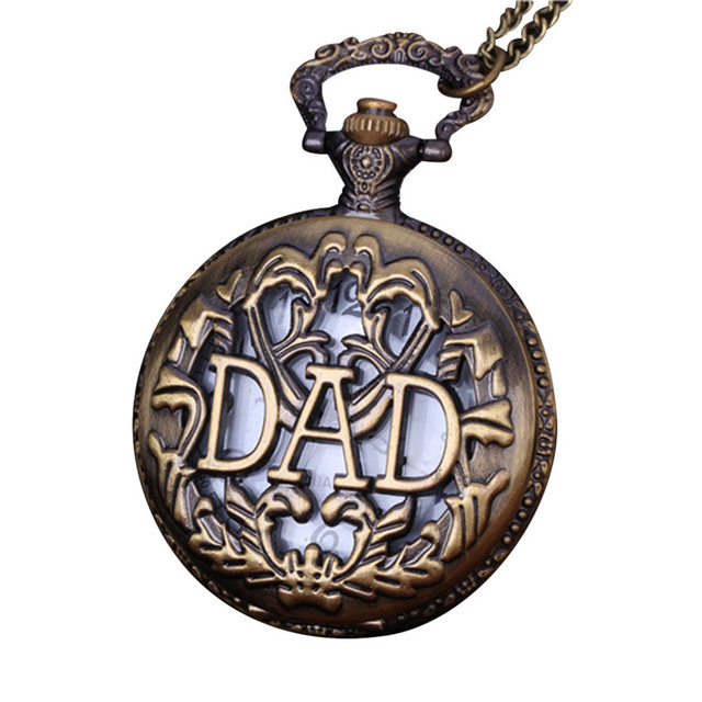 OTOKY Pocket Watch Men Vintage Bronze Dad Letters Design Chain Pendant Pocket Wa