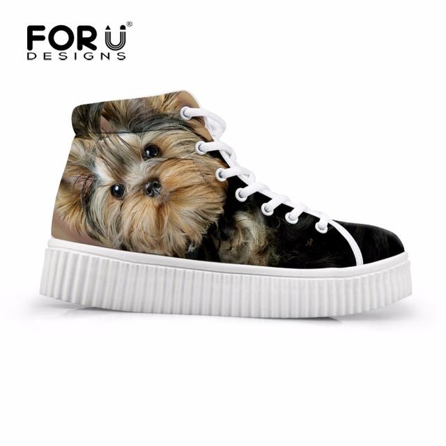 Cão Yorkie FORUDESIGNS Plataforma Mulheres Sapatos Lace-up Plataforma Sapatos Femininos Casuais 3D Animal Senhoras Zapatos Mujer sapatos de Salto Alto tamanho 35-41