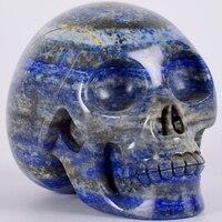 Lapis Lazuli статуя череп 5 дюймов 1502 г натуральный камень ручной работы Статуэтка Череп Драгоценный камень резьба ремесло исцеляющий рейки дома
