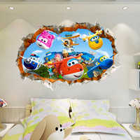 3D Super Wings Plane breakthrough Wall Sticker Decal Decor Poster Mural removable B686