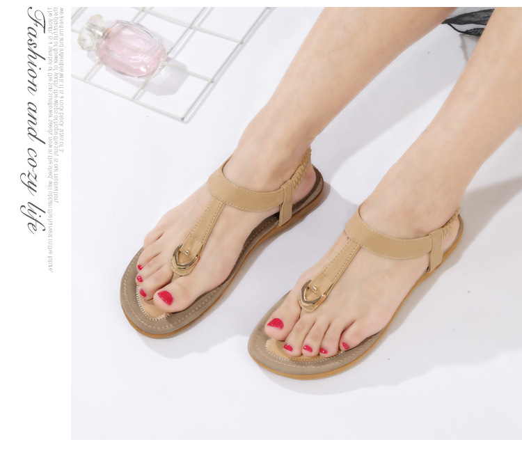 HTB1KzftCHSYBuNjSspfq6AZCpXao BEYARNE size 35-42 new women sandal flat heel sandalias femininas summer casual single shoes woman soft bottom slippers sandals