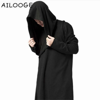 Gothic Oversized Black Hooded Mantle Hoodie Outwear US Streetwear Men Plus Long Cardigan Sweatshirt Cloak Hoodies Coat