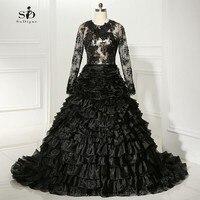 Akşam Elbise Dantel 2018 Balo Siyah Örgün Önlük Uzun Kollu Masquerade Ruffles Düğün Zarif Yüksek Kalite