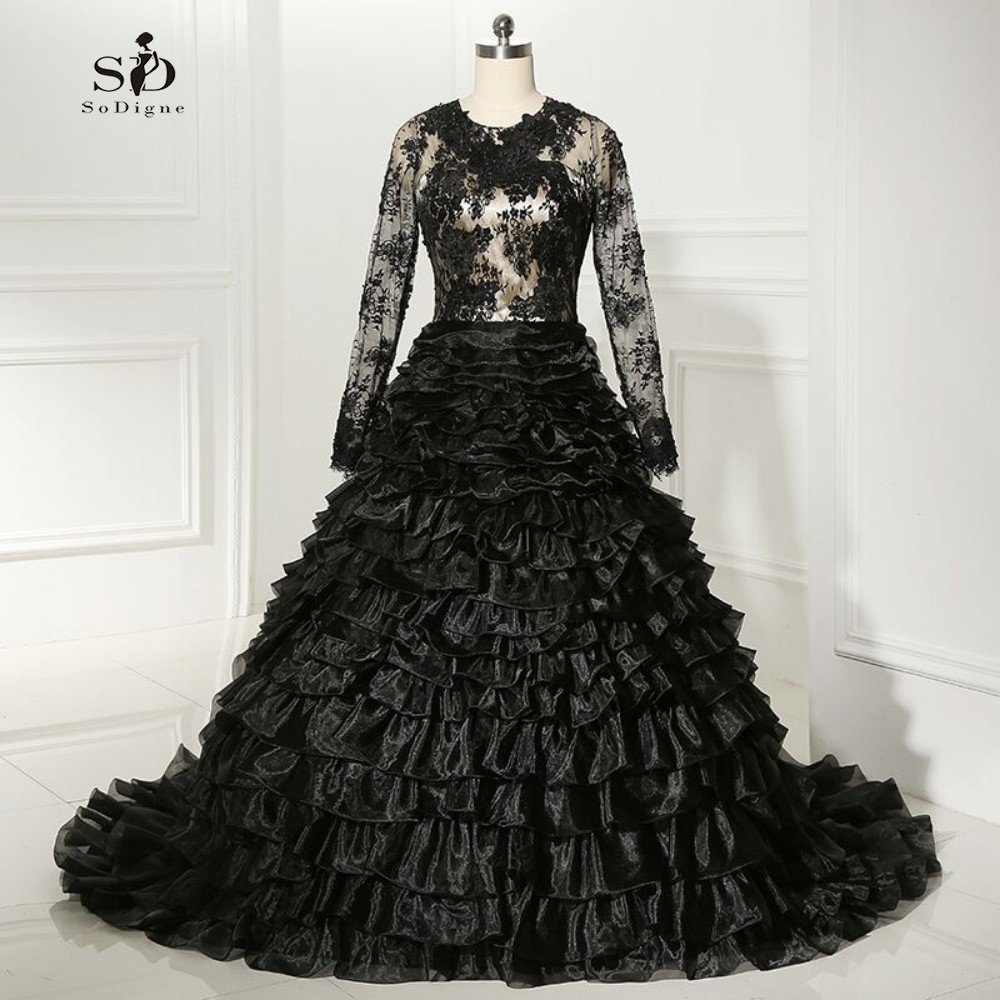 Evening Dress Lace 2017 Ball Gown Black Formal Gown Long Sleeves Masquerade Ruffles Wedding Party Elegant High Quality