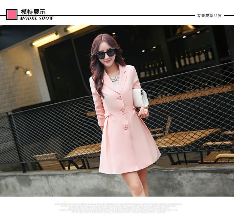 Super Pretty  Elegant Trench Coat Women Windbreaker Ladies Peplum Jacket Pink Grey Green Manteau Femme Silm Long Blazers bb