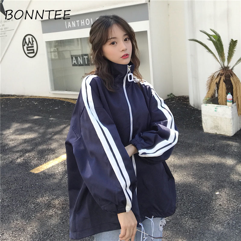 Women New   Jackets   Striped Zipper Stand-collar   Basic     Jackets   Womens Fashion Wide-waisted All-match Students Casual Korean Style