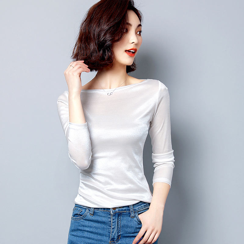 Satin graceful Office Lady Shirt Long Sleeve Women Blouses Slash Nech Female Tops 2019 New Arrived White Black Slim Blouse 9
