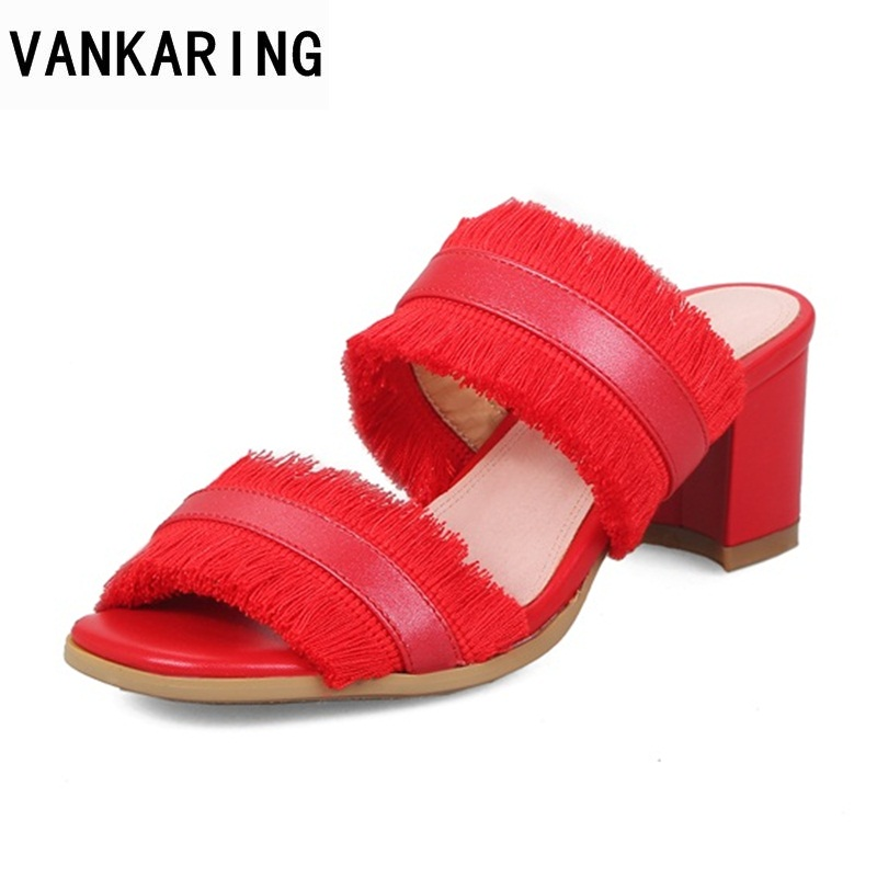 VANKARING ladies genuine leather slippers woman red tassels open toe shoes new square heel high heels casual date dress sandals vankaring new 2018 spring women flats shoes patent leather flat heels pointed toe black red shoes woman dress casual date shoes