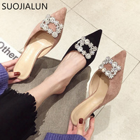 SUOJIALUN Soring Med Heel Mules Slippers Ladies Pointed Toe Strange Style Crystal Outside Sandals Shoes Women Casual Sli