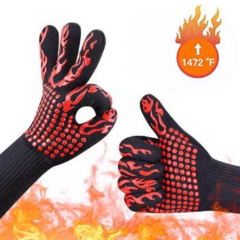 1PC Barbecue Kitchen Gloves BBQ Gloves Oven Mitts Baking Glove Extreme Heat Resistant Multi-Purpose Grilling Cooking Gloves U3
