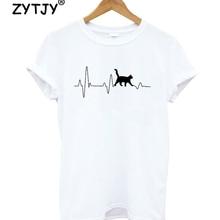 Cat Heartbeat Lifeline Letters Print Women tshirt Cotton Casual Funny t shirt Fo