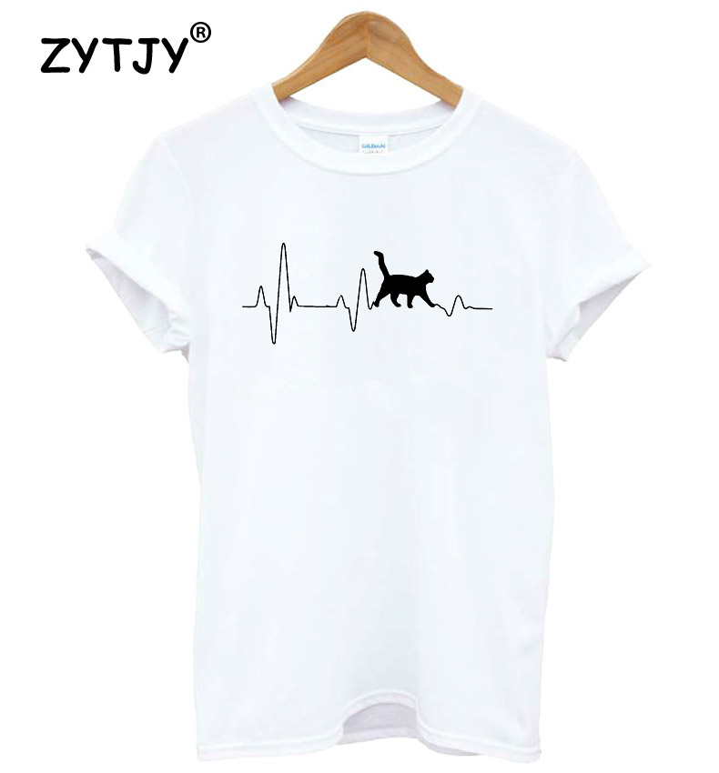 Cat Heartbeat Lifeline Letters Print Women Tshirt Cotton Casual Funny T Shirt For Lady Girl Top Tee Hipster Drop Ship Y-75