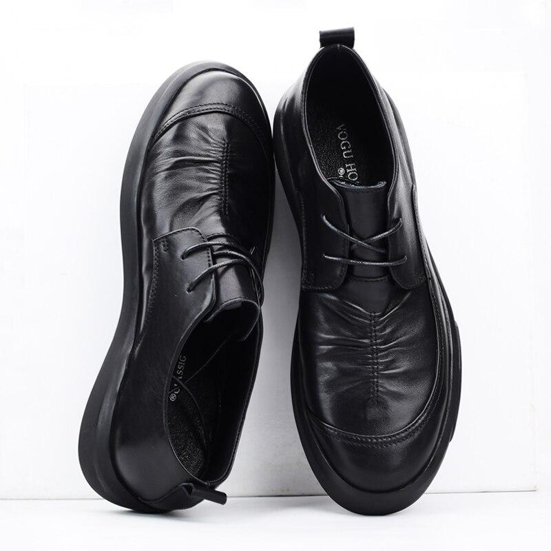 Jesień zima nowych mężczyzna biznesu buty w stylu casual prawdziwej skóry retro brytyjski cały mecz skóry wołowej mody mężczyzna czasu wolnego buty męskie w Męskie nieformalne buty od Buty na  Grupa 3