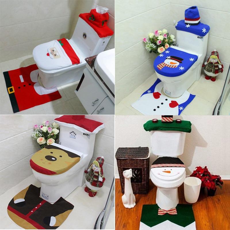 Set Bagno Babbo Natale.1 Set Di Natale Decorazioni Per La Casa Bagno Sedile Del Water Cove