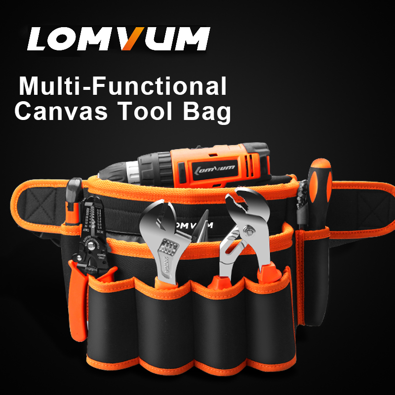купить LOMVUM Multifunction canvas tool waist bag durable waterproof tool waist bag недорого