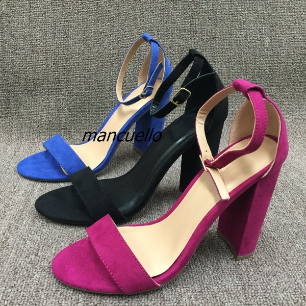 Classy Line Buckle Style Chunky Heel Shoes Delicate Rose Red Suede Open Toe Block Heel Dress Sandals Women Comfy Fashion Shoes