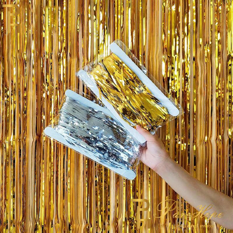 2M Wedding Party Decoratie Folie Fringe Klatergoud Gordijn Volwassen Verjaardagsfeestje Decoraties Kids Achtergrond Stand Photo Booth Gordijnen
