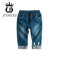 JOHEXI Cartoon Rabbit Embroidery Design Girl Kid Pants Cotton Elastic Waist Mid Full Length Girls Children / Kid Pants Straight