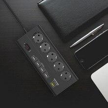 Европейский 5 gang USB мощность полосы стабилизатор напряжения Quick Charge 3,0 USB порты и разъёмы ЕС электрический удлинитель 5 выход 5 usb ЕС Plug мощность доска
