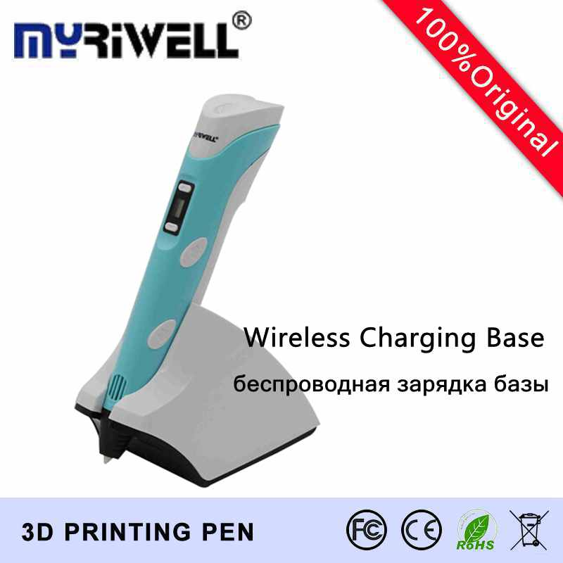 2017 Original MYRIWELL Fourth Ger 3D Pen 1.75MM PCL/PLA Wireless charging 3D Pens EU,UK,US,AU 3D draw pen 3D Model Free Shipping original pcl 725 selling with good quality and contacting us