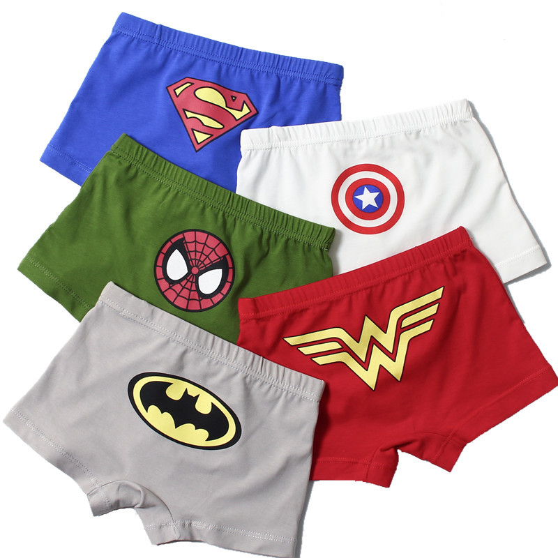 Hot 1pc 3-5 years old kid cotton underwear Avengers Spiderman Batman male cartoon printed child boys comics boxers briefs   pantie