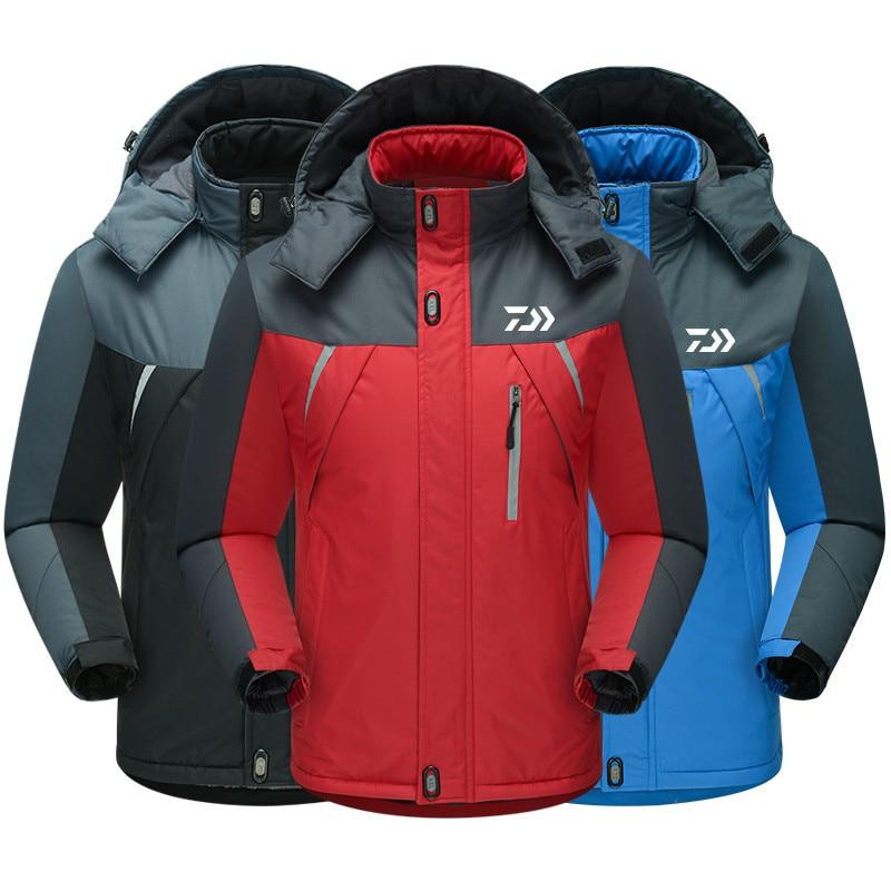 Daiwa Winter Fishing Jacket Outdoor Sports Warm Coat Windproof Fishing Clothing Plus Waterproof Fleece Snow Jacket