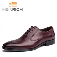 1c40e8b54f HEINRICH Italian Brand Formal Dress Men Shoes Genuine Leather Brogue  Business Classic Office Wedding Mens Oxford. HEINRICH marca italiana Formal  hombres ...