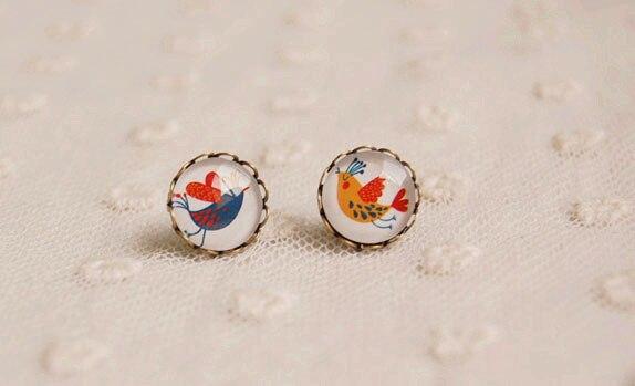 unique design birds stud earrings animal 12mm