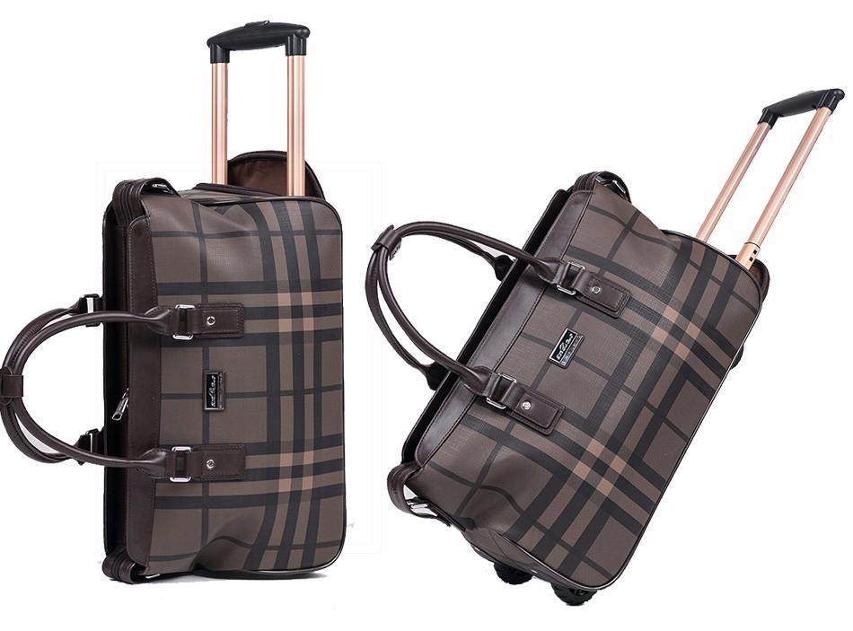 bc91f07bb84 Waterproof PU Duffle Bag Trolley Hand Luggage Fashion Plaid 20 Inch ...