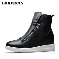 LORFRCIN Genuine Leather Ankle Boots For Women Height Increasing Platform Boots Casual Black White Zipper Woman