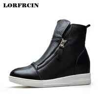 LORFRCIN Lederen Enkellaarsjes Voor Vrouwen Hoogte Toenemende Platform Laarzen Casual Zwart Wit Rits Vrouw Schoenen Herfst