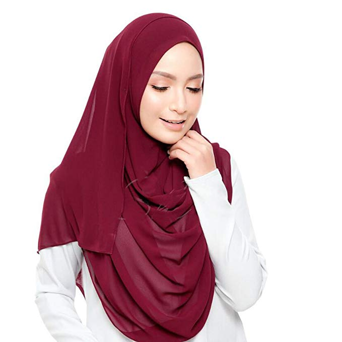 Image 2 - 50pcs/lot women plain bubble chiffon hijab scarf solid color shawl headband Islamic muslim hijab brand black long scarf/scarves-in Women's Scarves from Apparel Accessories
