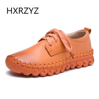 HXRZYZ Women Flat Shoes Handmade Genuine Leather Casual Shoes Spring Autumn Fashion Thick Sole Non Slip