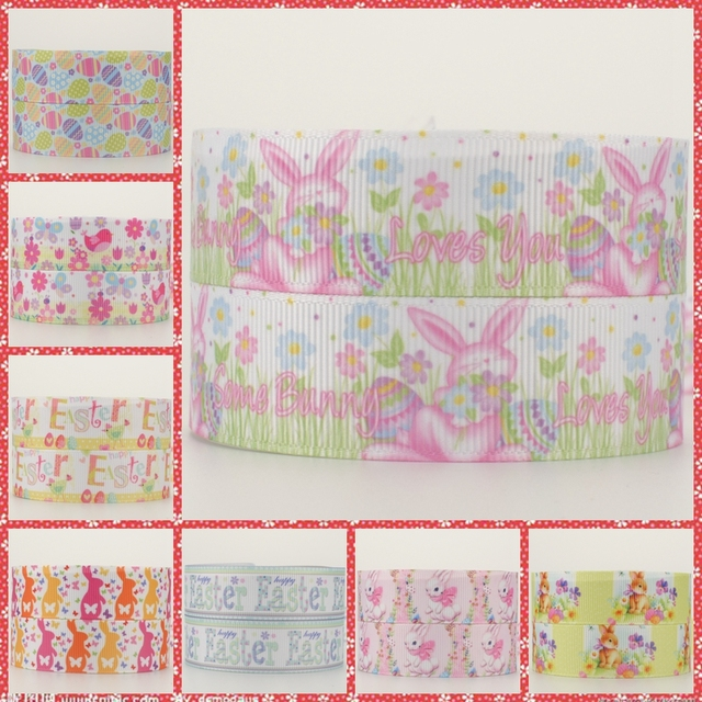 NEW 50 yards happy easter days ribbon pattern printed grosgrain rabbit cartoon ribbons free shipping