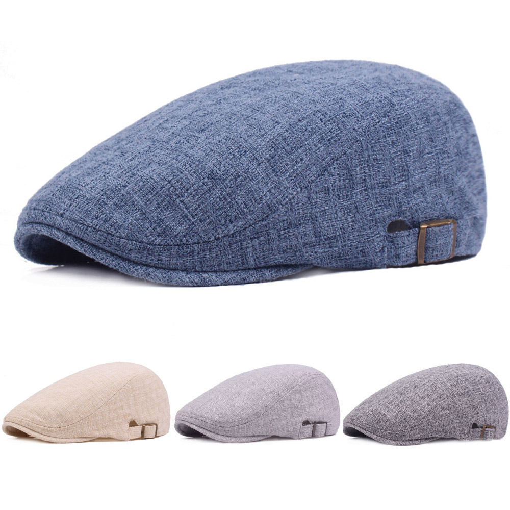Men Linen Cotton Golf Driving Beret Cabbie Hat Newsboy Flat Ivy Sun Summer Cap HATCS0513(China)