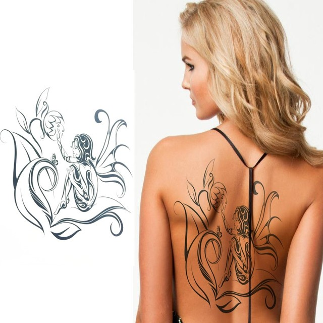 Cool Women Creative Design Black Dragon Waterproof Temporary Tattoo Stickers Shoulder Back Arm Leg Sleeve Big Fake Body Tattoos