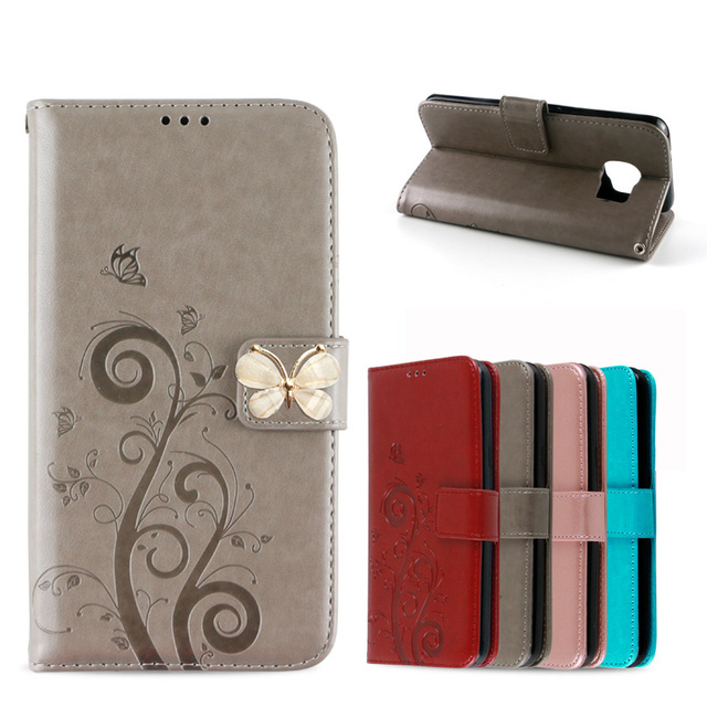 3D Embossing Butterfly Flower Luxury PU Leather Wallet Case for Samsung Galaxy S7 Edge SM-G935FD SM-G935F Flip Cover Stand Case