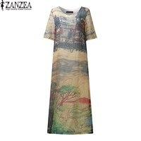 L 5XL ZANZEA Vintage Women Floral Printed Short Sleeve Silk Maxi Long Dress Boho Ladies Kaftan