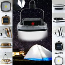 Портативный 3W 300 Люмены COB LED Солнечная USB перезаряжаемая походная лампа для Палатки Фонарь с крюком