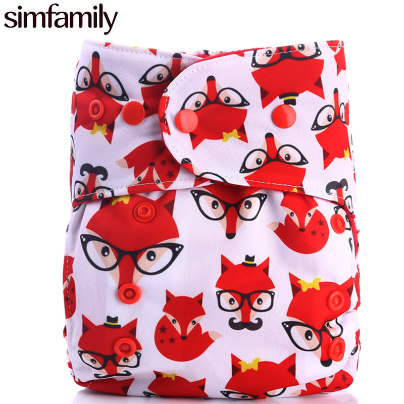 [simfamily] Reusable Waterproof Red Microfleece Baby One Size Pocket Cloth Diaper Nappy Stay Dry Color Snaps Fit 3-15Kgs Baby