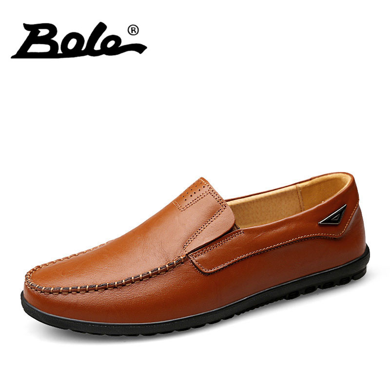 BOLE Fashion Designer Slip on Men Leather Shoes Fall New Handmade Genuine Leather Driving Loafers Flats Shoes Men big size 37-47 new fashion autumn solid color men shoes leather low slip on men flats oxford shoes for men driving shoes size 38 44 yj a0020