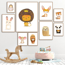 Cartoon Lion Rabbit Mouse Squirrel Fox Tiger Nordic Canvas Posters And Prints Wall Art Painting Pictures Kids Room