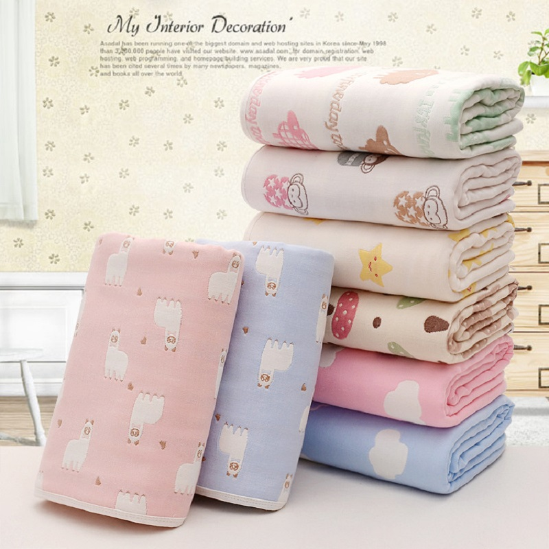 Muslin Baby Blankets Children 6 Layers Gauze Cotton Soft Anti Kick Quilt Newborn Infant Swaddle Towel Kids Bath Towel 110*110cm