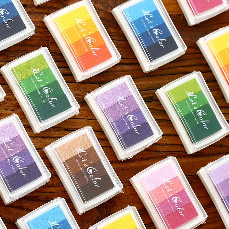 Cute Rainbow Multicolor Ink Pad For Planner Stamp Stationery Art Supplies Self Ink Stamp Inkpad Notebook Accessories Stationery