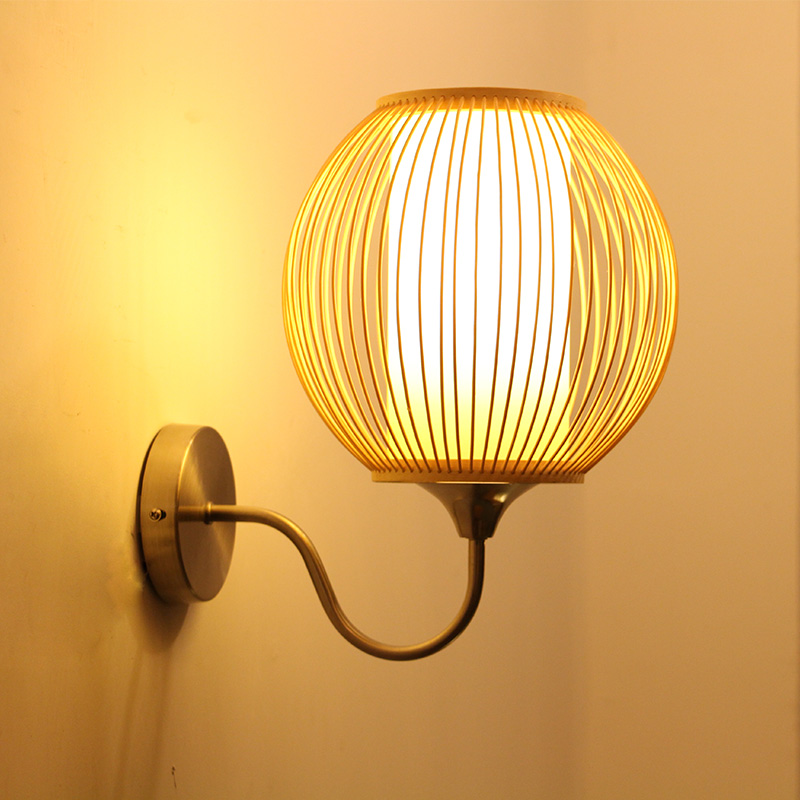 Bamboo southeast corridor balcony stairs lamp  Chinese style bedroom bedside lamp wall lamp creative garden minimalist ZA