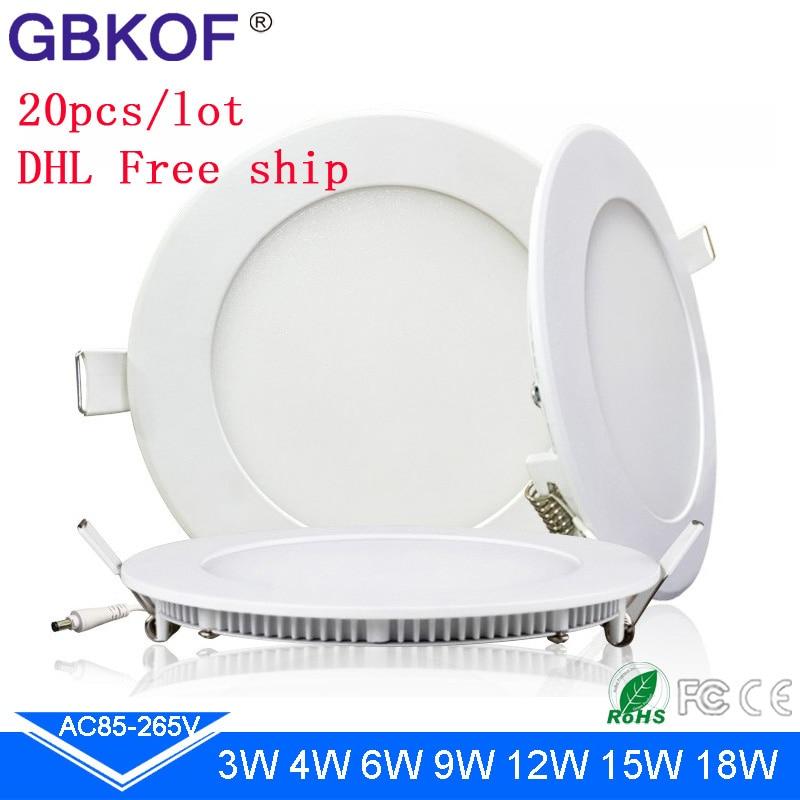 Ultra thin 20pcs lot luminaire round square 3W 4W 6W 9W 12W 15W 18W LED Panel