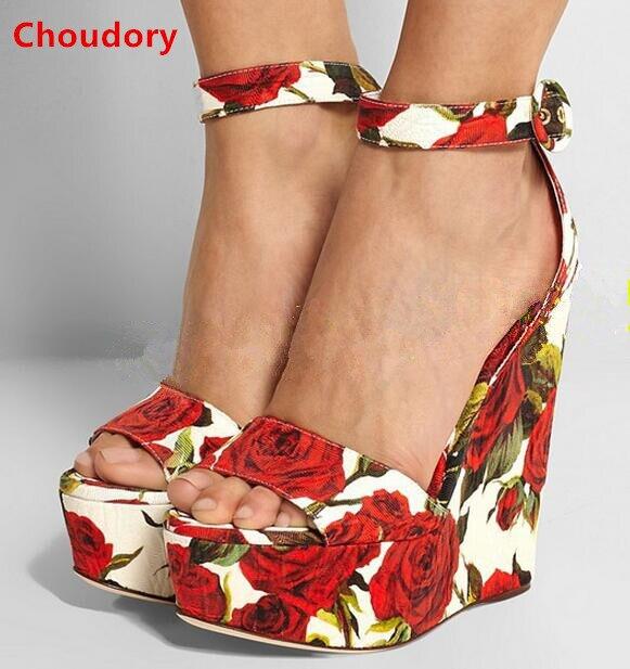 Free shipping red rose flowers printing wedge heel sandals ankle wrap cover heel platform sandal princess dating wedding shoes