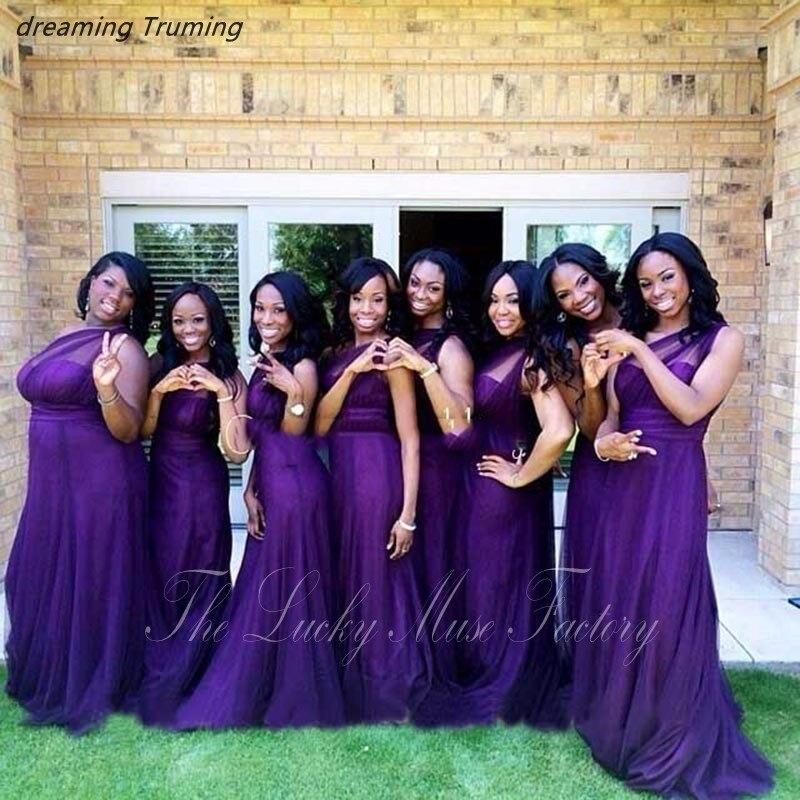 robe de demoiselles d honneur pour mariage Purple Plum Bridesmaid Dress  Plus Size A Line Elegant ...