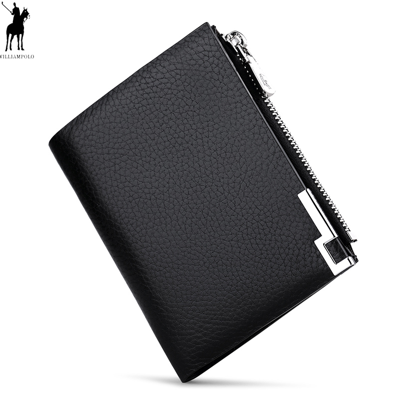 WILLIAMPOLO Men Wallets Male Purse Genuine Leather Wallet with Coin Pocket Zipper Short Credit Card Holder Wallets Leather new design 100% leather genuine male wallets slim short men wallet with zipper coin purse pocket soft leather card holder wallet